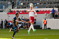 Jonny Steele (22) of the New York Red Bulls goes up for a header during the first half against the Philadelphia Union The New York Red Bulls defeated the Philadelphia Union 2-1 during a Major League Soccer (MLS) match at Red Bull Arena in Harrison, NJ, on March 30, 2013.