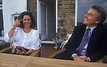 David Owen and wife Debbie. Politician 1980s England. In their Narrow Street Wapping east London apartment