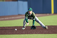 Eastern Michigan Eagles third baseman Devin Hager (23) fields a ground ball during the NCAA baseball game against the Michigan Wolverines on May 8, 2019 at Ray Fisher Stadium in Ann Arbor, Michigan. Michigan defeated Eastern Michigan 10-1. (Andrew Woolley/Four Seam Images)