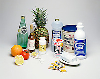 ACIDS - BASES: COMMON HOUSEHOLD PRODUCTS<br /> And One Salt Compound<br /> Items shown, except for Plaster of Paris, are notably acidic or basic. Plaster of Paris, CaSO4*½H2O, is a salt, the product of a reaction between an acid and a base.