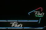 Neon lights at Rae's Coffee Shop in Santa Monica, CA