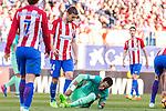 Gabi Fernandez of Atletico de Madrid and Neymar Santos Jr of Futbol Club Barcelona  during the match of Spanish La Liga between Atletico de Madrid and Futbol Club Barcelona at Vicente Calderon Stadium in Madrid, Spain. February 26, 2017. (ALTERPHOTOS)
