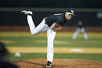 Wake Forest Demon Deacons relief pitcher Ryan Cusick (33) delivers a pitch to the plate against the Illinois Fighting Illini at David F. Couch Ballpark on February 16, 2019 in  Winston-Salem, North Carolina.  The Fighting Illini defeated the Demon Deacons 5-2. (Brian Westerholt/Four Seam Images)