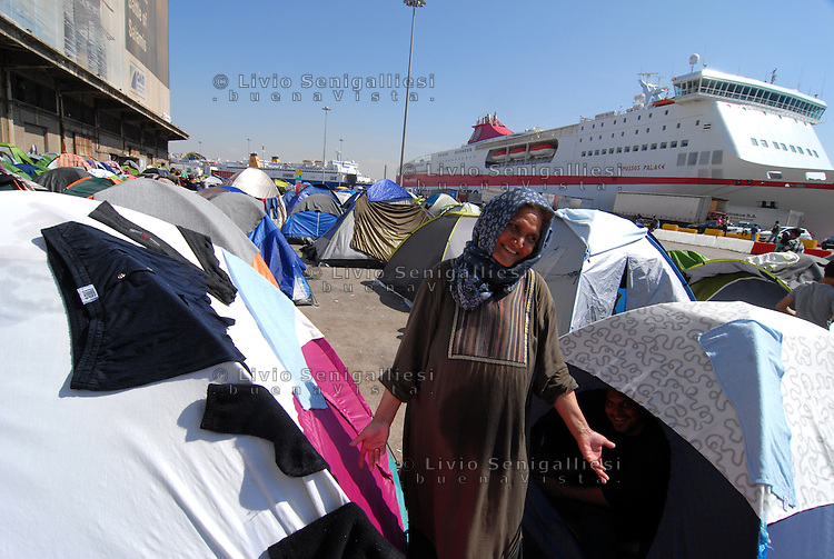 Pireus / Athens 30/3/2016<br /> Refugee camp in Pireus Port. Most of them are women with children coming from Syria.<br /> Photo Livio Senigalliesi