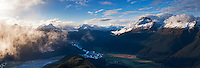 Mt Earnslaw, Lake Sylvan and the Dart River Valley from Mt Alfred, Glenorchy, Wakatipu.