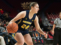 COLLEGE PARK, MD - DECEMBER 28: Michelle Sidor #24 of Michigan on the attack. during a game between University of Michigan and University of Maryland at Xfinity Center on December 28, 2019 in College Park, Maryland.