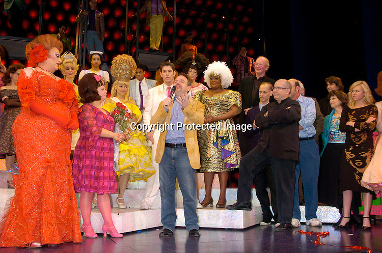 Harvey Fierstein and Kathy Brier  and Marc Shaiman  ..at the Last Performance of Harvey Fierstein and Kathy Brier ..in Hairspray on May 2, 2004 at the Neil Simon Theatre...Photo by Robin Platzer, Twin Images