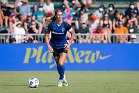 CARY, NC - SEPTEMBER 12: Abby Erceg #6 of the NC Courage looks for options during a game between Portland Thorns FC and North Carolina Courage at Sahlen's Stadium at WakeMed Soccer Park on September 12, 2021 in Cary, North Carolina.