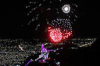 BOGOTA -COLOMBIA , 16 ,DICIEMBRE-2015.Con juegos pirotécnicos se inicio en el  Santuario del Señor de  Monserrate la novena de Aguinaldos ./ With fireworks began in the Santuario del Señor de Monserrate of the ninth  bonuses. Photo: VizzorImage / Felipe Caicedo / Staff