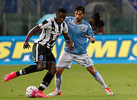Calcio, Serie A: Lazio vs Udinese. Roma, stadio Olimpico, 13 settembre 2015.<br /> Udinese's Duvan Zapata, left, is challenged by Lazio's Danilo Cataldi during the Italian Serie A football match between Lazio and Udinese at Rome's Olympic stadium, 13 September 2015.<br /> UPDATE IMAGES PRESS/Isabella Bonotto