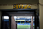 Southend United 1 Burton Albion 1, 22/02/2016. Roots Hall, League One. The view looking out of the players' tunnel under the main stand at Roots Hall stadium, pictured before Southend United took on Burton Albion in a League 1 fixture. Founded in 1906, Southend United moved into their current ground in 1955, the construction of which was funded by the club's supporters. Southend won this match by 3-1, watched by a crowd of 6503. Photo by Colin McPherson.