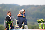 ISPS Handa Wales Open Golf final day at the Celtic Manor Resort in Newport, UK. :  Dutch golfer Joost Luiten celebrates wiining the Wales Open Golf Tournament on the 18th green this afternoon with a hug from Celtic Manor Resort owner Sir Terry Matthews.