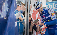The Kid taking a (backstage) selfie pic with The Champ that is Tom Boonen (BEL/Quick-Step Floors)<br /> <br /> 79th Gent-Wevelgem 2017 (1.UWT)<br /> 1day race: Deinze › Wevelgem - BEL (249km)
