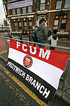 FC United of Manchester 8, Glossop North End 0, 28/10/2006. Gigg Lane, Bury, North West Counties League division one. Fans with a banner in the street before FC United of Manchester take on Glossop North End (blue shirts) in a North West Counties division one match at United's home stadium, Gigg Lane, home to Bury FC. The match was staged on People United Day, an event started in 1999 which brought together fans from across Europe to campaign against racism. FC United were formed in the summer of 2005 by supporters of Manchester United in response to the take over of their club by American millionaire Malcolm Glazer and his family. The club entered the football pyramid at the lowest level with the intention to climbing through the leagues. FCUM won the match 8-0, watched by 3257 spectators. Photo by Colin McPherson.