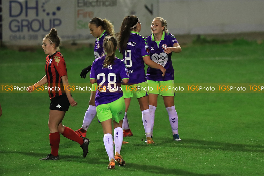 Jemma Purfield of Bristol City is congratulated after scoring the opener during Lewes Women vs Bristol City Women, FA Women's Continental League Cup Football at The Dripping Pan on 18th November 2020