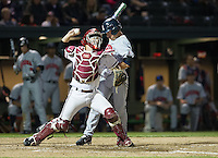 STANFORD, CA - April 19, 2013: Stanford catcher Brant Whiting (6) throws out a base runner during the Stanford vs Arizona baseball game at Sunken Diamond in Stanford, California. Final score, Stanford 4, Arizona 3.