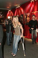 Singer Marie-Chantal Toupin arrives on crutches at the<br /> Reception Chrystal Film  at the Spectrum in Montreal, during the Montreal New Film Fest - Nouveau Festival de Cinema de Montreal<br /> <br /> photo : (c)  Images Distribution<br />  : Caroline Neron
