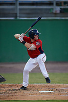 Potomac Nationals Jakson Reetz (1) at bat during a Carolina League game against the Myrtle Beach Pelicans on August 14, 2019 at Northwest Federal Field at Pfitzner Stadium in Woodbridge, Virginia.  Potomac defeated Myrtle Beach 7-0.  (Mike Janes/Four Seam Images)