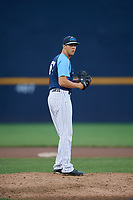 Trenton Thunder relief pitcher James Reeves (61) gets ready to deliver a pitch during a game against the New Hampshire Fisher Cats on August 19, 2018 at ARM & HAMMER Park in Trenton, New Jersey.  New Hampshire defeated Trenton 12-1.  (Mike Janes/Four Seam Images)