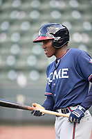 Third baseman Jean Carlos Encarnacion (14) of the Rome Braves during batting practice before a game against the Greenville Drive on Friday, April 13, 2018, at Fluor Field at the West End in Greenville, South Carolina. Rome won, 10-6. (Tom Priddy/Four Seam Images)