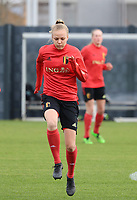 Sarah Wijnants pictured during the training session of the Belgian Women's National Team ahead of a friendly female soccer game between the national teams of Germany and Belgium , called the Red Flames in a pre - bid tournament called Three Nations One Goal with the national teams from Belgium , The Netherlands and Germany towards a bid for the hosting of the 2027 FIFA Women's World Cup ,on 19th of February 2021 at Proximus Basecamp. PHOTO: SEVIL OKTEM | SPORTPIX.BE