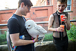 © Joel Goodman - 07973 332324 - all rights reserved . 25/08/2019. Manchester, UK. A man with a fluffy owl bag on Canal Street . Revellers in Manchester's Gay Village during the city's annual Gay Pride festival , which celebrates LGBTQ+ life and is the largest of its type in Europe . Photo credit : Joel Goodman