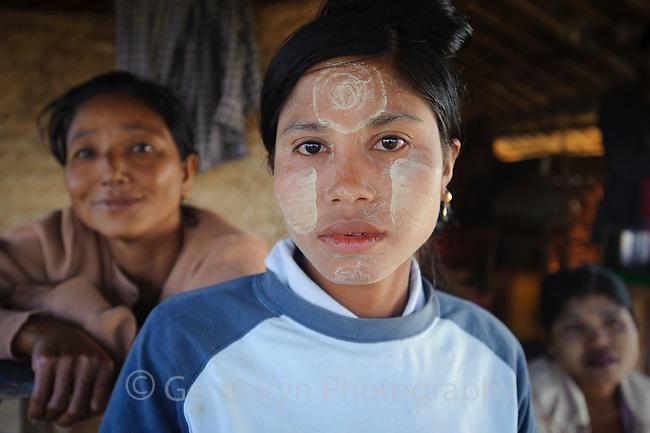 Rakhine women in Magyichaung village. Rakhine State, Myanmar.
