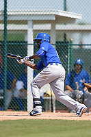 Toronto Blue Jays Anthony Alford (9) during a minor league spring training game against the Pittsburgh Pirates on March 21, 2015 at Pirate City in Bradenton, Florida.  (Mike Janes/Four Seam Images)