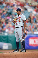 Gwinnett Braves starting pitcher Luiz Gohara (52) looks in for the sign during a game against the Buffalo Bisons on August 19, 2017 at Coca-Cola Field in Buffalo, New York.  Gwinnett defeated Buffalo 1-0.  (Mike Janes/Four Seam Images)