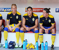 Fifa Women's World Cup Germany 2011 : Colombia - Sweden at Bayarena Leverkusen : Sofia Jakobsson , Madelaine Edlund en  Antonia Goransson..foto DAVID CATRY / Vrouwenteam.be