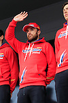 Luca Paolini (ITA) Team Katusha at the Team Presentations in Compiegne before the 2015 Paris-Roubaix cycle race held over the cobbled roads of Northern France. 11th April 2015.<br /> Photo: Eoin Clarke www.newsfile.ie