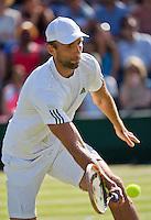 England, London, Juli 04, 2015, Tennis, Wimbledon, Ivo Karlovic (CRO) in his match against Jo-Wilfried Tsonga (FRA)<br /> Photo: Tennisimages/Henk Koster
