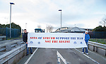 Sons of Struth take their message to the Rangers Training Centre at Auchenhowie ahead of team training this morning