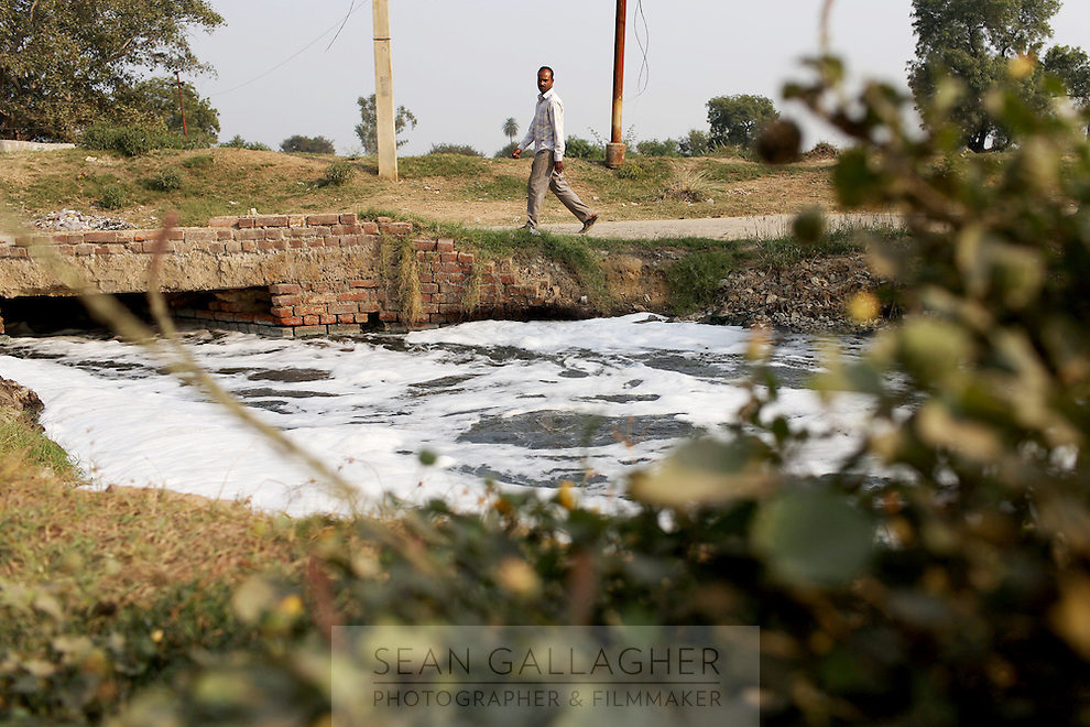 Waste water from tanneries is channeled onto nearby farmland in the Indian city of Kanpur. The city is notorious for having some of the country's worst water pollution which is created by the local leathery tannery industry.