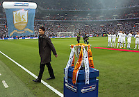Pictured:  Michael Laudrup and the cup. Sunday 24 February 2013<br /> Re: Capital One Cup football final, Swansea v Bradford at the Wembley Stadium in London.