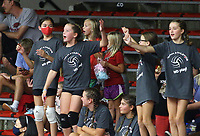 Fan dancing during time out on Sunday, Oct. 10, 2021, during play at Barnhill Arena, Fayetteville. Visit nwaonline.com/211011Daily/ for today's photo gallery.<br /> (Special to the NWA Democrat-Gazette/David Beach)