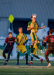 13 November 2019: University of Vermont Catamount Midfielder Frosti Brynjólfsson, a Freshman from Akureyri, Iceland, heads one forward during play against the University of Hartford Hawks at Virtue Field in Burlington, Vermont. The Catamounts fell to the visiting Hawks 3-2 in sudden death overtime of the Division 1 Men's Soccer America East matchup. Mandatory Credit: Ed Wolfstein Photo *** RAW (NEF) Image File Available ***