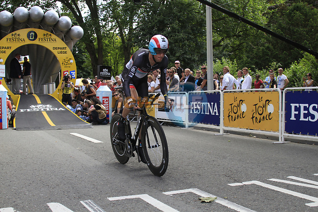 Frank Schleck (LUX) Radioshack-Nissan starts the Prologue of the 99th edition of the Tour de France 2012, a 6.4km individual time trial starting in Parc d'Avroy, Liege, Belgium. 30th June 2012.<br /> (Photo by Eoin Clarke/NEWSFILE)