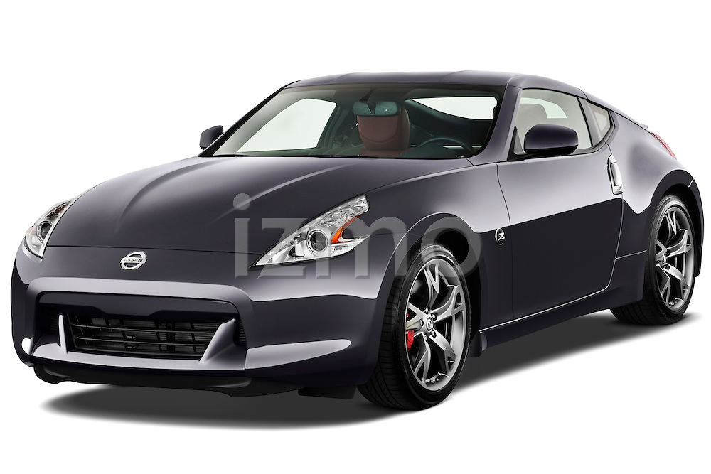 Front three quarter view of a 2010 Nissan 370z 40th Coupe.
