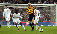 Pictured: (L-R) Nathan Dyer, Gary Jones. Sunday 24 February 2013<br /> Re: Capital One Cup football final, Swansea v Bradford at the Wembley Stadium in London.