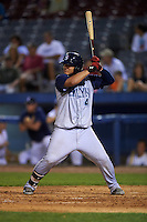 Brooklyn Cyclones catcher Jose Garcia (4) at bat during the first game of a doubleheader against the Connecticut Tigers on September 2, 2015 at Senator Thomas J. Dodd Memorial Stadium in Norwich, Connecticut.  Brooklyn defeated Connecticut 7-1.  (Mike Janes/Four Seam Images)