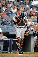 Baltimore Orioles catcher Matt Wieters #32 during game against the New York Yankees at Yankee Stadium on September 5, 2011 in Bronx, NY.  Yankees defeated Orioles 11-10.  Tomasso DeRosa/Four Seam Images