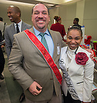 Principals enjoy surprise gifts provided by their campuses during the Principal meeting, December 3, 2014.