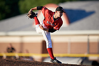 Batavia Muckdogs relief pitcher Dylan Cyphert (46) delivers a pitch during a game against the West Virginia Black Bears on July 3, 2018 at Dwyer Stadium in Batavia, New York.  Batavia defeated West Virginia 5-4.  (Mike Janes/Four Seam Images)