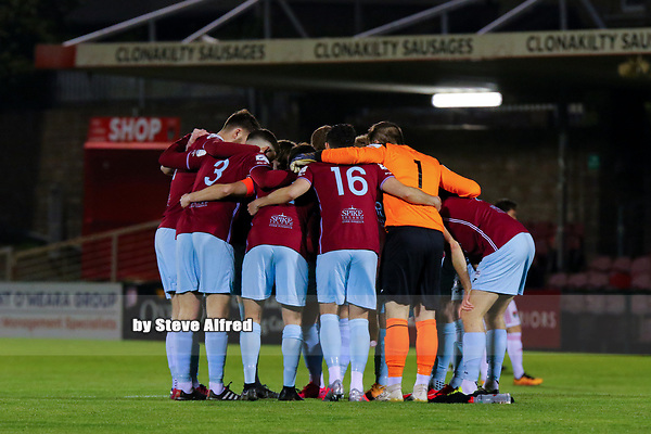 Cobh Ramblers huddle before the game.<br /> <br /> Cork City v Cobh Ramblers, SSE Airtricity League Division 1, 26/3/21, Turner's Cross, Cork.<br /> <br /> Copyright Steve Alfred 2021.