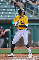 Jake Gatewood (8) of the Salt Lake Bees at bat against the Tacoma Rainiers at Smith's Ballpark on May 16, 2021 in Salt Lake City, Utah. The Bees defeated the Rainiers 8-7. (Stephen Smith/Four Seam Images)