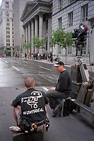 Film crew on a movie set in Old-Montreal. may 1999<br /> <br /> <br /> Photo : (c)  Pierre Roussel