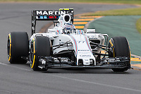 March 14, 2015: Valtteri Bottas (FIN) #77 from the Williams Martini Racing team rounds turn two during qualification at the 2015 Australian Formula One Grand Prix at Albert Park, Melbourne, Australia. Photo Sydney Low