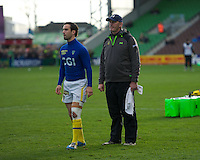 Vern Cotter, ASM Clermont Auvergne Head Coach, with Morgan Parra of ASM Clermont Auvergne during the warm up before the Heineken Cup Round 5 match between Harlequins and ASM Clermont Auvergne at the Twickenham Stoop on Saturday 11th January 2014 (Photo by Rob Munro)