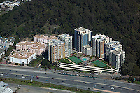 aerial photograph of a high rise apartment buildings adjacent to interstate I-80, Albany Hill Park, Albany, Alameda County California
